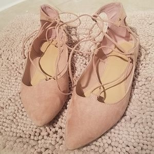 Old Navy pink/nude suede tie up flats, size 9